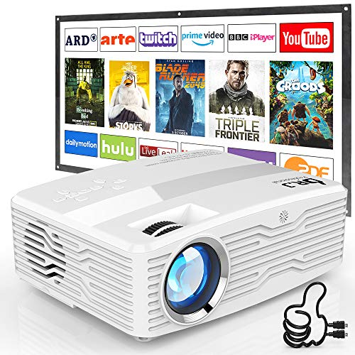 "[Native 1080P Projector] DR. J Professional 6800Lumens LCD Projector Full HD Projector Max 300"" Display, Compatible with TV Stick, HDMI, AV, VGA, PS4, Smartphone for Home Theater, Presentations"