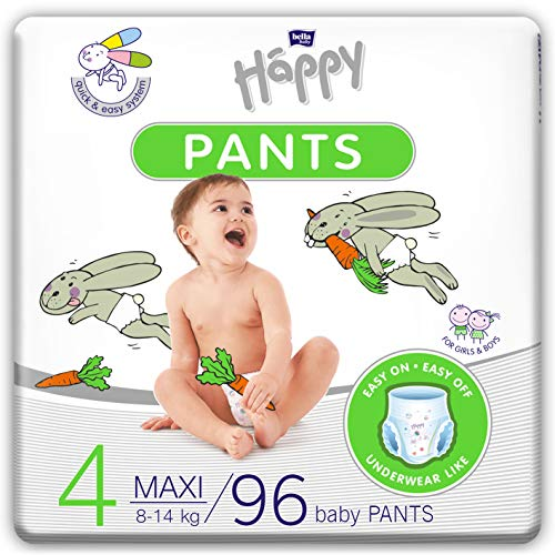 Bella Baby Happy Pants Gr.4 Maxi, 4er Pack (4 X 24 Stück): Höschenwindeln Für Kinder 8-14 Kg, Ideal Beim Töpfchentraining
