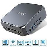 AK2 Mini PC Intel Celeron J3455,4K HD Graphics Windows 10 Mini Desktop Computer,4GB DDR3/64GB eMMC,Gigabit...