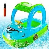 FORMIZON Anello da Nuoto per Bambini, Auto Seggiolino Piscina con Tettuccio Parasole, Salvagente Neonato Anello da Nuoto Gonfiabili, Baby Float Piscina Baby, Piscina Salvagente per Neonati 12-36 Mesi