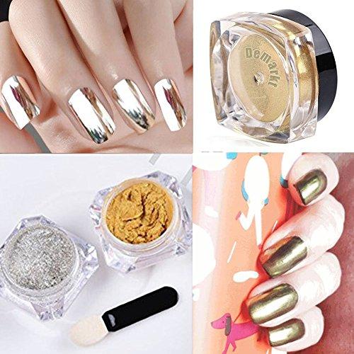 Lumanuby 2 Pots Poudre Magique Effet Miroir Or Argent Scintillement Nail Art Manucure Nail Art Conseils Décoration Manucure (3g/boîte)