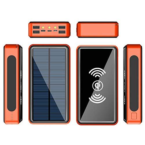 Solar Ladegerät Kabellos Power Bank Externer Akku Mit LED-Licht & Haken, 3 Input, 4 Ausgänge Und Type-C Für iPhone,Samsung,Ipad,Und Andere Smartphones/Handys,Wasserdicht,Orange,30000mAh