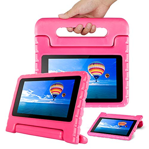 CAM-ULATA for Amazon Fire 7 2017 2015 Case Kids 7th 5th Generation for Girls Toddles with Stand Kindle Cover 7 inch Pink