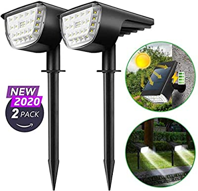 Solar Spotlights Outdoor, 2-in-1 Solar Landscape Spotlights 32 LED Wireless Auto On/Off Solar Powered Wall Lights Waterproof 3 Modes Solar Landscape Lights for Path Garden Driveway Patio, 2 Pack White