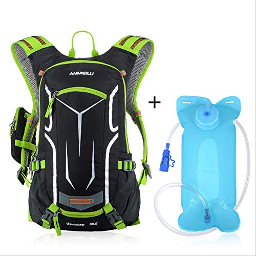 Generic Brands Sac à dos de poche d'hydratation 2 l + housse de pluie pour extérieur Sac de voyage étanche 18 l Couleur verte.