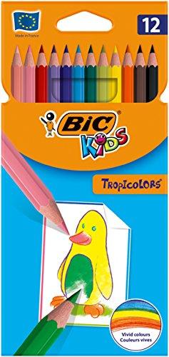 Bic Kids Tropicolors Matite Colorate senza Legno, Confezione da 12 Matite, Colori Assortiti