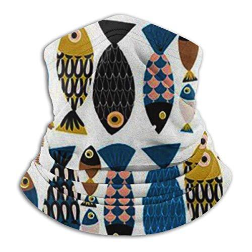 Colorido patrón de pescado sin costuras cara cubierta cuello polaina Bandanas multi-functiontiofor polvo, al aire libre, festivales, deportes negro