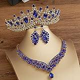 POSDN Crystal AB Bridal Jewelry Sets Fashion Tiaras Pendientes Collares Conjunto para Mujeres Vestido de Novia Crown Joyery Set