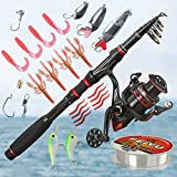 Fishing Rod and Reel Combos Carbon Fiber Telescopic Fishing Pole and Reel Combo Set with Fishing Line and Fishing Lures Kit, Fishing Rod Kit for Sea Saltwater Freshwater Fishing(6.89FT/2.1M)