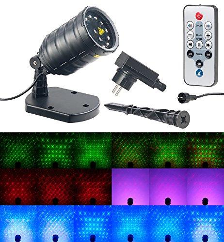 Lunartec Laserstrahler: Laser-Projektor mit 12 LEDs, 8 Licht-Effekte, Timer, Fernbed, IP65 (Weihnachtslaser)
