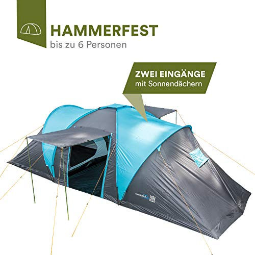 Skandika Hammerfest Family Dome Tent without Sewn-In Groundsheet, 2 Sleeping Cabins, 200 cm Peak Height, Blue/Black, 6-Person