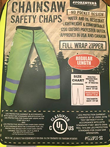 Forester Chainsaw Safety Chaps - Full Wrap Zipper - Safety Green (Regular (37