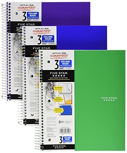 Five Star Cadernos espirais, 3 assuntos, papel pautado universitário, 150 folhas, 28 x 21 cm, verde, roxo, laranja, pacote com 3 (38820)
