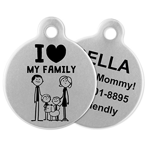 If It Barks - Engraved Pet ID Tags for Dogs - Personalized Stainless Steel Identification Tags - Custom Name Tag Attachment - Made in USA, I Love My Family