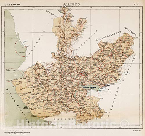Historic Map - National Atlas - 1922 No. 14: Jalisco - Vintage Wall Art - 16in x 16in