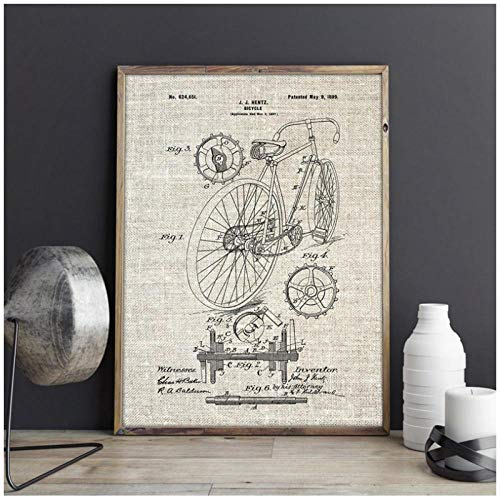 kldfig Racefiets Patent Print fietsen kunstwerk fiets muurkunst canvas schilderij poster Home Room Decor Vintage bloemprint geschenk idea-50 * 70 cm niet ingelijst