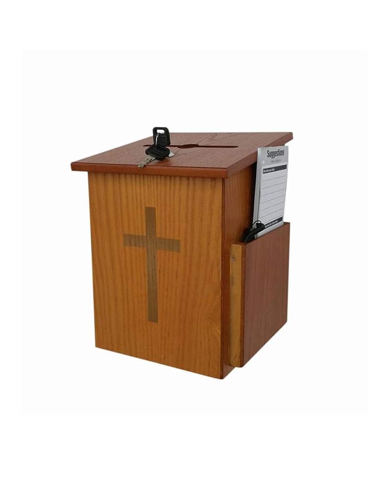 XF Church Supplies Wooden Charity Donation Suggestion Box Single Lock Box Dedication Box Love Box //