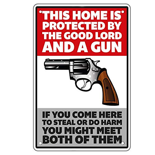 JBF Warning Tin Sign Aluminum Sign - Home Protected by The Good Lord and a Gun - Funny Home Outdoor Indoor Protect Family Door Wall Decor Art, Best Gift for Neighbors Relatives Friends 8x12INCH