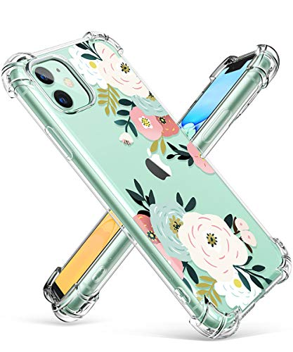 GVIEWIN iPhone 11 Case,Clear Flower Design Soft&Flexible TPU Ultra-Thin Shockproof Transparent Bumper Protective Floral Cover Case for iPhone 11 6.1 inch 2019 (Abundant Blossom/White)