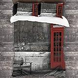 SXCVD 3 Piezas Juego Funda De Diseño Personalizado,Famoso Arranque de teléfono británico en Las Calles de Londres Icono,Ropa de Cama Set 1 Edredón 2 Fundas de Almohada Microfibra jueg(200 * 200cm)