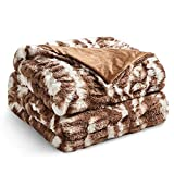 YnM Ultra-Soft Fluffy Weighted Blanket (Mix Brown, 50''x60'' 10lbs), Luxury Faux Fur Weighted Blanket Throw, Cosy & Relaxing Blanket, Home Decor Piece …