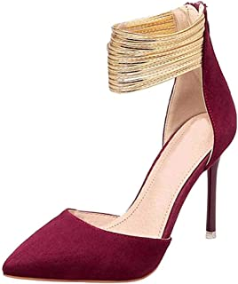 Women's Strappy Sandals Stiletto High Heel Mary Jane Shoes Metal Ankle Strap Wedding Party Prom Bridal Pumps