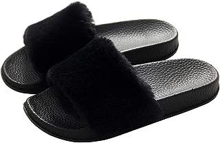 Women's Slippers Fuzzy Slides, Fluffy Sandals Faux Fur Flip Flops Open Toe Soft Indoor Outdoor Pink Black Grey