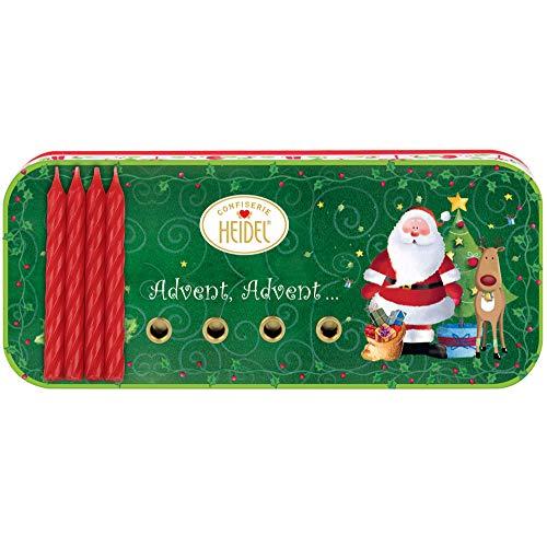 Heidel Weihnachtsdose Christmas Time | Edel-Vollmilch-Schokolade | 4 Kerzen | Advent, Advent...