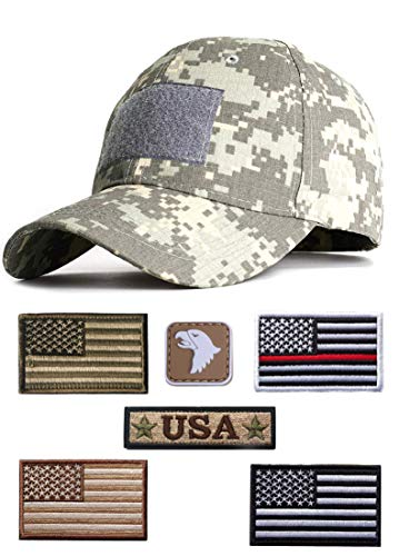 SJL 7 Pieces USA Flag Patch Military Army Cap,Operator Cap,Tactical Army Hats, Baseball Cap for Men (for ACU)