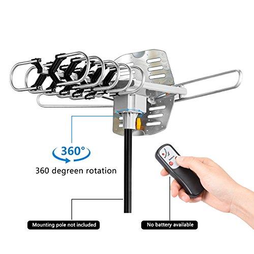 Sobetter Outdoor Amplified HDTV Antenna Digital TV Antenna 150 Miles 360° Degree Rotation HD Digital Outdoor Indoor HDTV Antenna Remote Controller