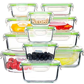 Glass Food Storage Containers with Lids [24 Piece] Airtight Glass Storage Containers Leak Proof Glass Meal Prep Containers BPA Free Glass Bento Boxes for Lunch  12 lids & 12 Containers