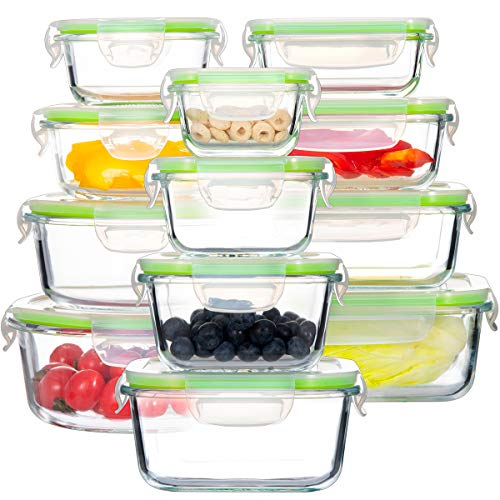 Glass Food Storage Containers with Lids, [24 Piece] Airtight Glass Storage Containers, 100% Leak Proof Glass Meal Prep Containers, BPA Free Glass Bento Boxes for Lunch (12 lids & 12 Containers)