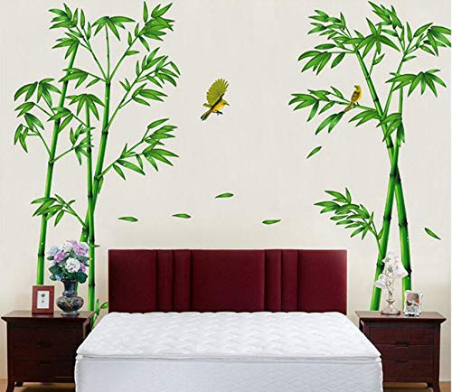 HALLOBO® Wandtattoo XXL Grün Bambus Bamboo Wandaufkleber Wandsticker Wall Sticker Wohnzimmer Schlafzimmer Deko
