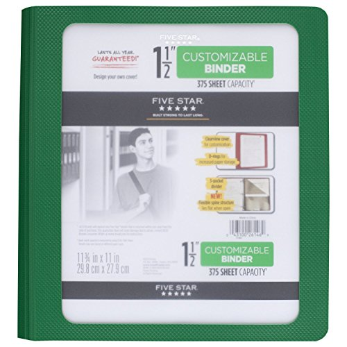 Five Star 1-1/2 Inch 3 Ring Binder, View Binder, Customizable Cover, Green (73367) Photo #4