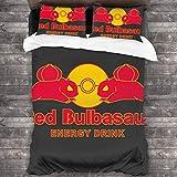 FDASLJ Monster of The Pocket Red Bulbasaur Energy Drink 3 Pieces Bedding Set Duvet Cover 86'' x70,Queen Decorative 3 Piece Bedding Set with 2 Pillow Shams