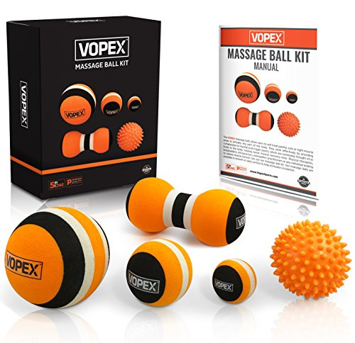 Massage Ball Set for Trigger Point Myofascial Release, Plantar Fasciitis, Foot Reflexology -Deep Tissue Physical Therapy Muscle Massager Tools Set - Spiky Ball, Peanut Massage Ball, Foam Massage Balls