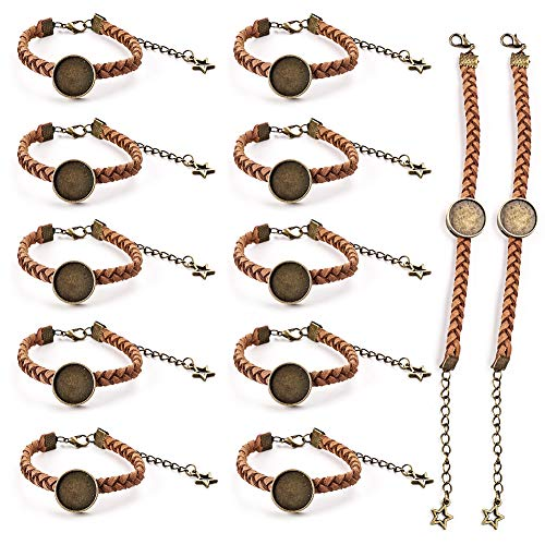 12-teiliges Armband mit Lünetten-Einstellungen, geflochtenes Lederarmband mit blanko, Cabochon-Einfassung, verstellbares Seil Armband für Damen und Herren, zum Basteln von Schmuck, braun