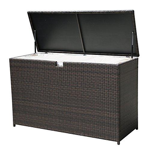 PATIOROMA Outdoor Storage Box Patio Aluminum Frame Wicker Cushion Storage Bin Deck Box, Espresso Brown