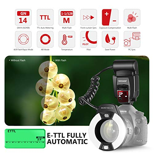 Neewer Macro TTL Ring Flash Light with LED AF assist lamp for Canon E-TTL TTL Cameras / such as Canon EOS 5D Mark II EOS 6D EOS 7D EOS 70D EOS 60D EOS 60Da EOS 700D 650D 600D 400D 350D 300D 100D 1000D 1100D Rebel T5i T4i T3i Xti XT SL1 XS T3