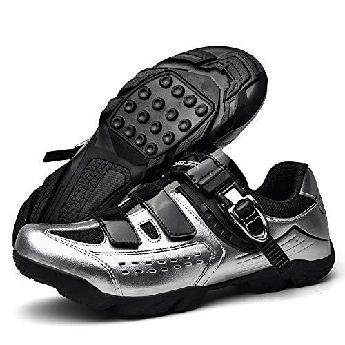 KUXUAN Zapatillas de Ciclismo de Carretera Amantes Zapatillas de Carreras de Montaña con Cierre de Velcro Transpirable,Silver-9UK=(265mm)=43EU