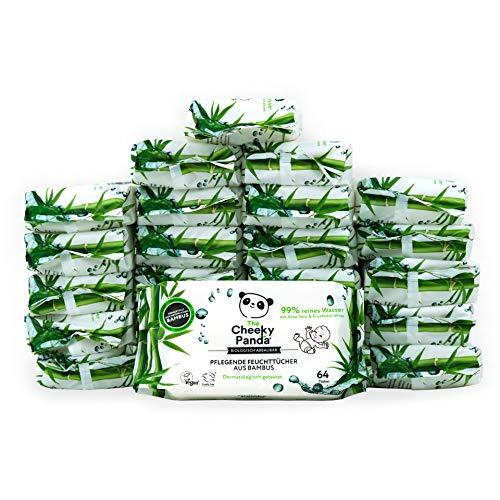 The Cheeky Panda Limited Toallitas desmaquillantes de bambú, sin perfume, paquete de 24 unidades (64 toallitas cada uno, 1536 total), 10,7 kg