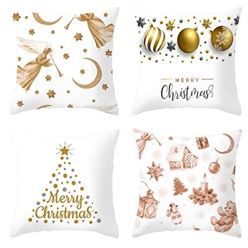 Nunubee Juego De 4 Fundas De Almohada para Decoración De Árboles De Navidad, Funda De Almohada para Sofá Y Decoración De Oficina (Color De La Imagen, 45X45Cm)