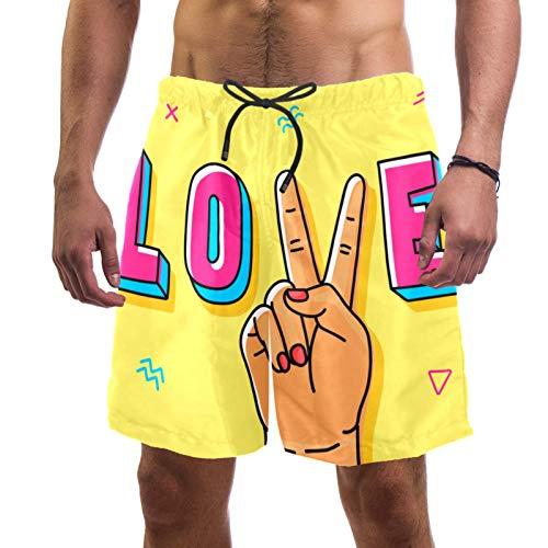 ATOMO Pantalones cortos de natación para hombre Peace Love Yellow Casual Surf Beach Shorts de secado rápido - - Small