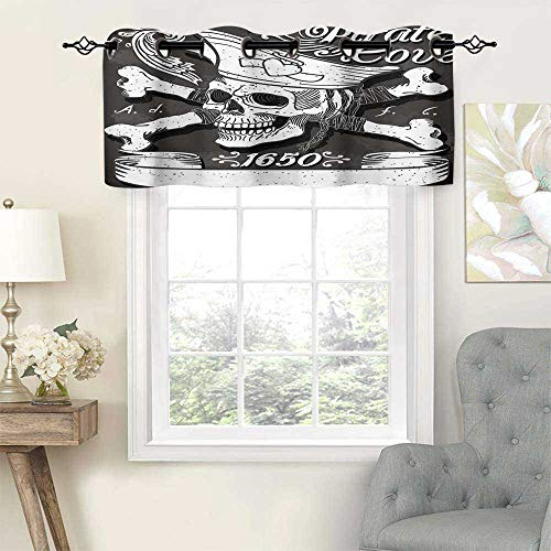 Hiiiman Modern Window Curtain Valance Pirate Pirate Cove Flag Year of 1650 Vintage Frame Crossbones Floral, Set of 2, 54'x24' Home Decorative Blackout Panels for Living Room