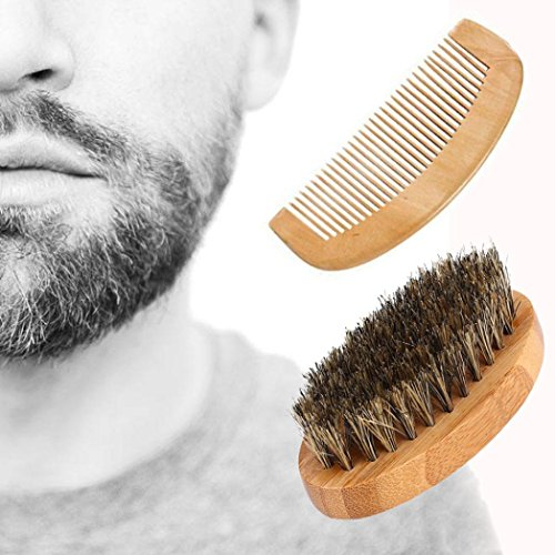 Gaddrt Hommes Sanglier Poils Poils Barbe Moustache Brosse Peigne Dur Ovale Manche en Bois