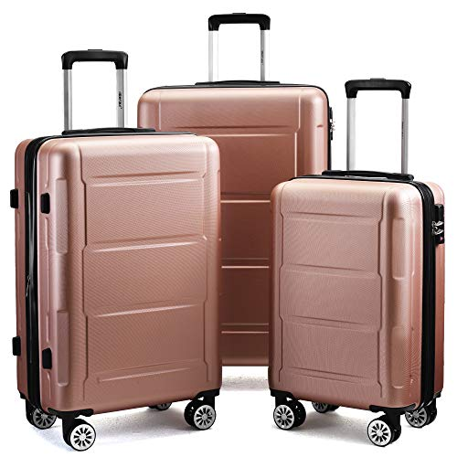 jeerbly Handgep?ck - Juego de maletas rígidas expandibles con candado TSA, mango telescópico y 4 ruedas, color champán, L de 63 cm