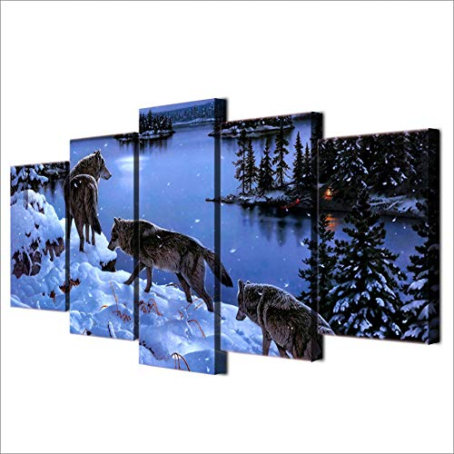 GHTAWXJ HD Impreso Snow Wolf Lake Painting Canvas Print Room Decor Print Poster Picture Canvas