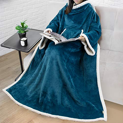 Premium Sherpa Fleece Blanket with Sleeves for Adult Women, Men | Cozy, Warm, Super Soft, Plush Blue Wearable Throw for Couch, Sofa | Lightweight Microfiber (Teal)