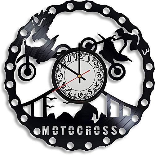 GodyGT Motocross Disco de Vinilo Reloj de Pared Motocross Motociclista Bicicleta Regalo para Cualquier ocasión