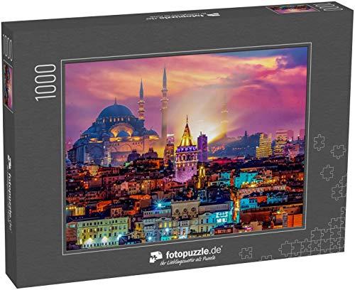 fotopuzzle.de Puzzle 1000 Teile Skyline von Istanbul Galata-Turm, Suleymaniye Moschee (Osmanische Reichsmoschee) (1000, 200 oder 2000 Teile)